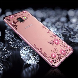 Ovitek soft gel Rožice z diamantki (Rose Gold) - Samsung Galaxy A7 (2017)