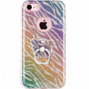 Ovitek soft gel AIQAA Bear ring (zebra) - iPhone 7 Plus / 8 Plus