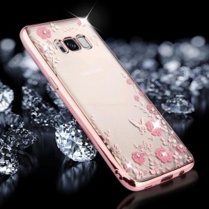 Ovitek soft gel Rožice z diamantki (Rose Gold) - Samsung Galaxy S8
