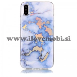 Ovitek soft gel Holo marmor (moder - gold) - iPhone X / XS