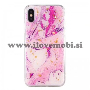 Ovitek soft gel Gold marmor (magenta) - iPhone X / XS