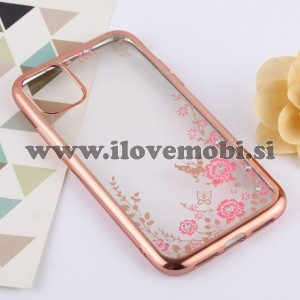 Ovitek soft gel TPU rožice z diamantki (rose gold)  - iPhone 11 Pro