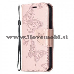 Preklopni etui z vzorcem metuljev (rose gold) - iPhone 12 Mini